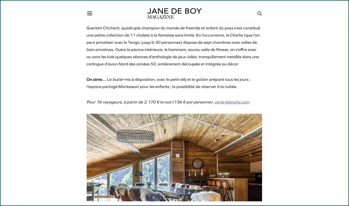 Jane de Boy parution Carte Blanche
