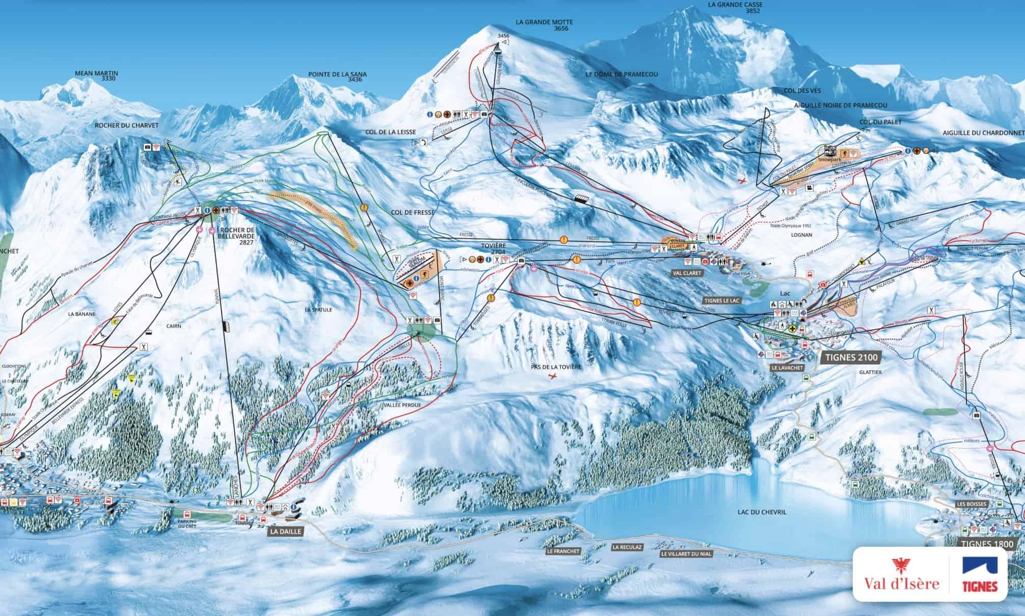 Le plan des pistes de Tignes Val d'Isère